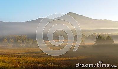 Foggy mountain views at sunrise