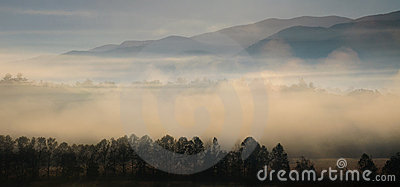 Foggy mountain views at sunrise