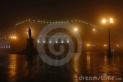 Foggy night in Odessa town,unesco heritage