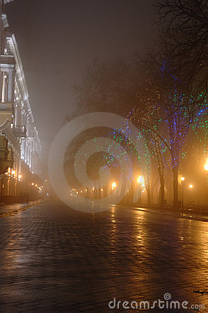 Foggy night in town,Odessa, Ukraine