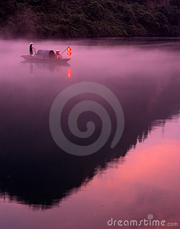 Foggy river in sunrise
