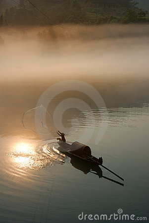 Foggy river in sunrise