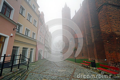 Foggy street scenery of Kwidzyn