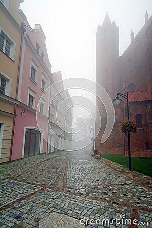 Foggy street scenery of Kwidzyn town