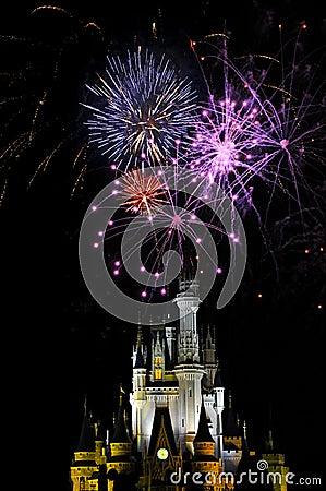 Fogos-de-artifício no reino mágico Foto de Stock Editorial