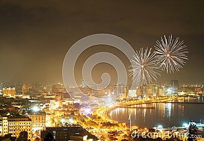 Fogos-de-artifício em Baku