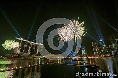 Fogos-de-artifício na abertura dos Jogos Olímpicos da juventude (5) Fotografia Editorial