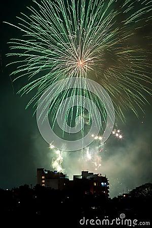 Fogos-de-artifício na véspera dos anos novos em Sydney, Austrália