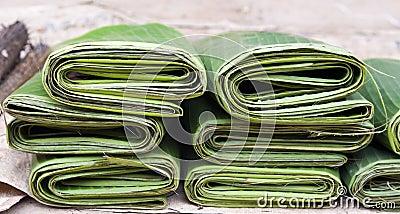 Folded Banana Leaves