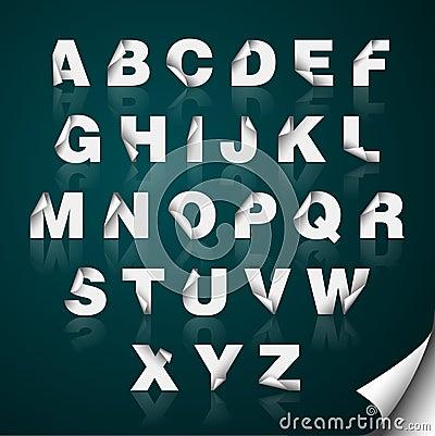 Folded Edge Paper Alphabet