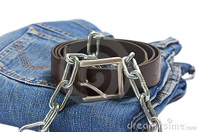 Folded jean and belt