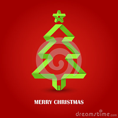Folded paper Christmas green tree on a red background