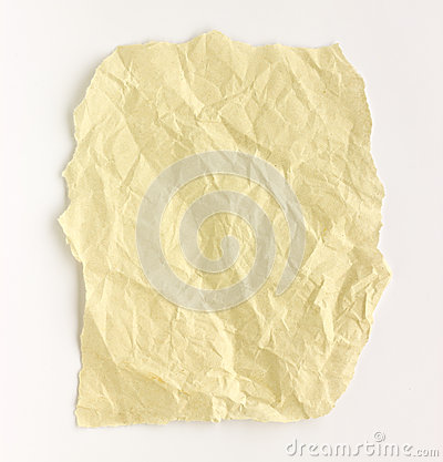 Folded paper  white background.