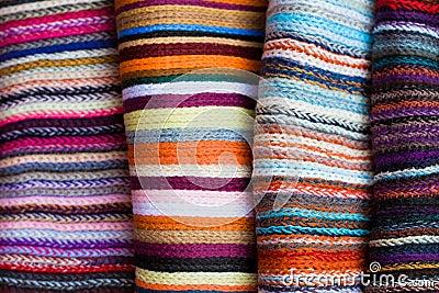 A folded pile of colorful cloth