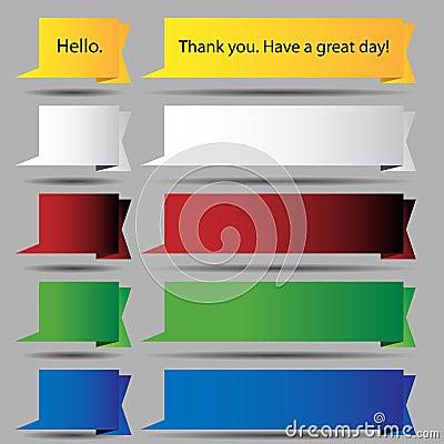 Free Folded Speech Bubble Ribbon Button Set Stock Photo - 19990680