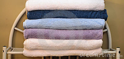 Folded towels on rack
