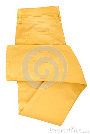 Folded yellow jeans