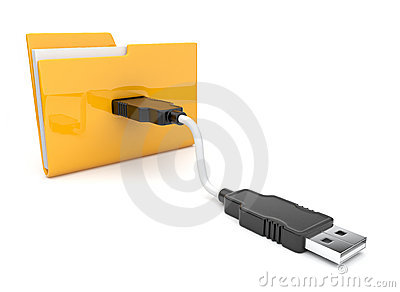 Folder 3d icon. USB onnect . Icon
