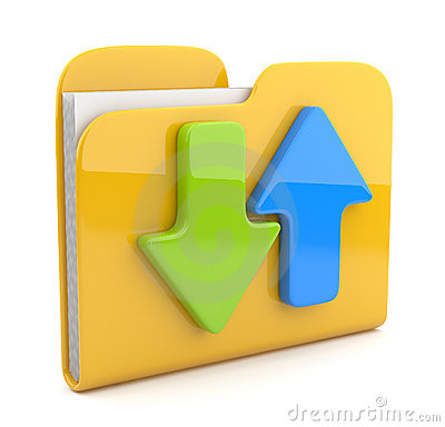 Folder and arrow.  3D icon. Date downloading