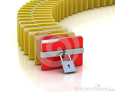 Folder with closed padlock and many opened folders
