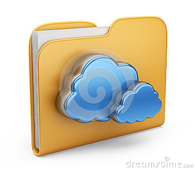 Folder and cloud. 3D  icon isolated