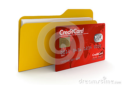 Folder and Credit Card (clipping path included)