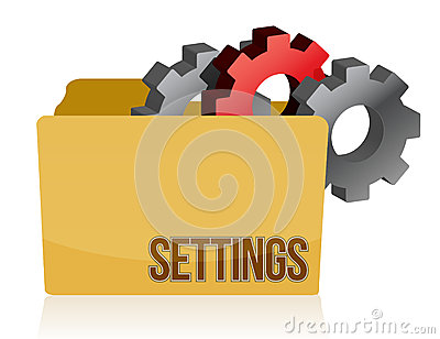 Folder and gears settings illustration design