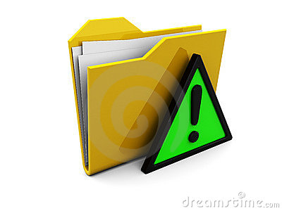 Folder icon and warning sign