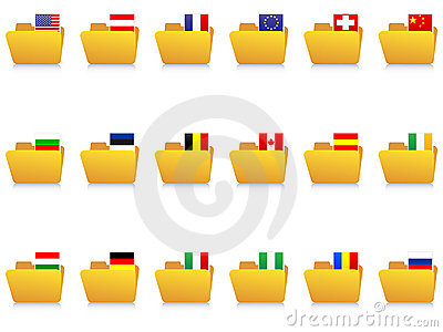 Folder icons with flags
