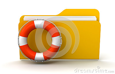 Folder and Lifebuoy (clipping path included)