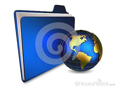 Folder with paper and globe
