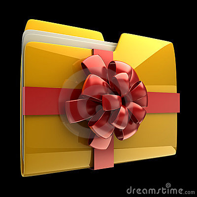 Folder with red ribbon and bow