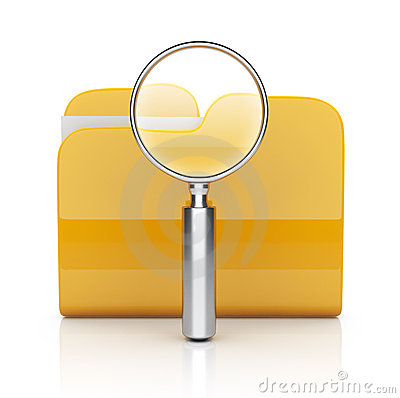 Folder search with magnifying glass 3D