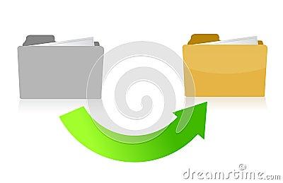 Folder transferring files concept illustration