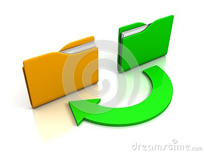 Folders and arrow. Concept of data downloading
