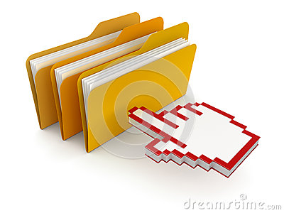 Folders with files and cursor (clipping path included)