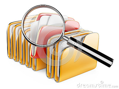 Folders and files search icon - folders under the magnifier.