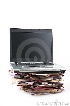 Folders with laptop Computer