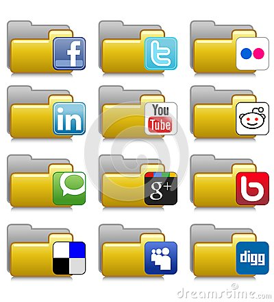 Folders Set - Social Net Application Folders 05 Editorial Photo