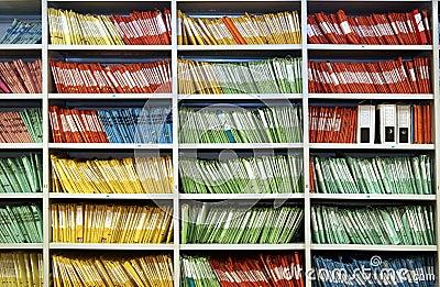 Folders in a shelf