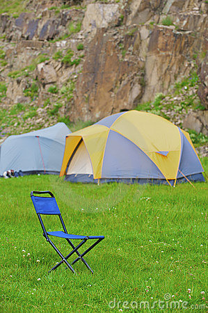 Folding blue camp chair