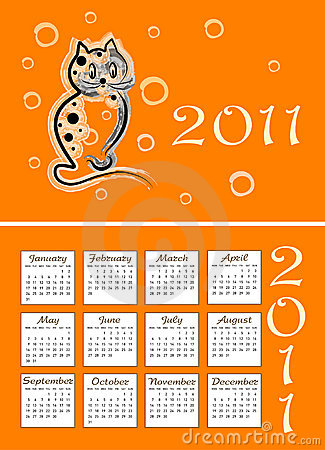 Folding childish calendar 2011