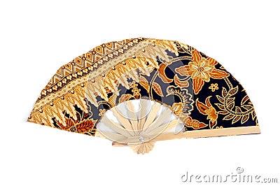 A folding fan patterned batik cloth