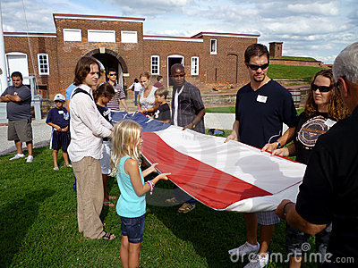 Folding the Flag Editorial Image