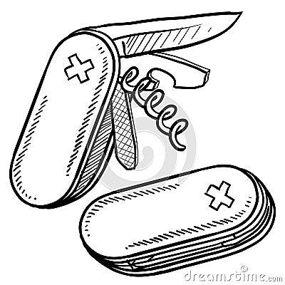 Folding pocketknife vector