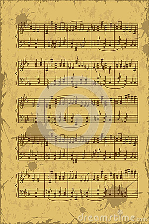 Folha de notas da pauta musical da música