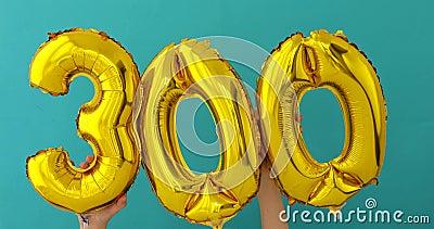 Folha de ouro número 300 três cem balões da celebração filme