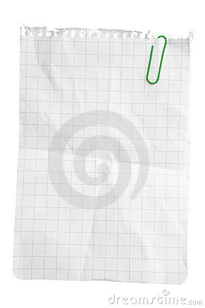 Folha de papel com grampo de papel