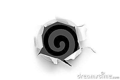 Folha de papel com um furo redondo