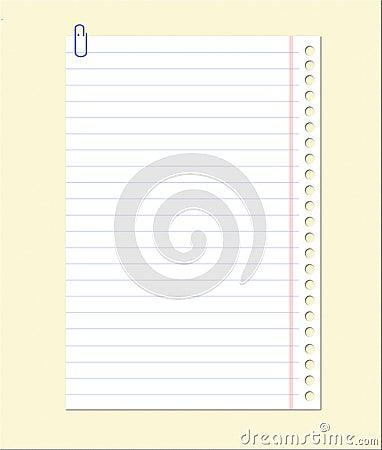 Folha em branco do caderno
